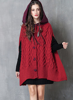 Hooded Plaid Splicing Single-breasted Cloak Coat