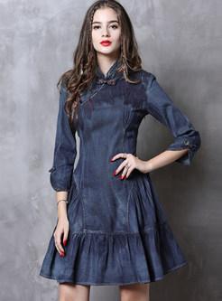 Mandarin Collar Falbala Slim Mini Denim Dress
