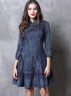 Vintage Mandarin Collar Falbala Slim Mini Denim Dress