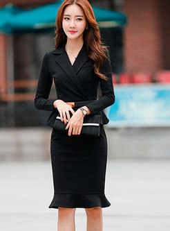 Stylish Notched Long Sleeve Ruffled Mermaid Dress