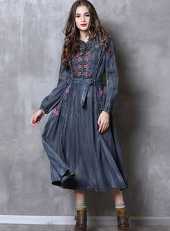 Retro Long Sleeve Embroidered Waist Big Hem Denim Dress