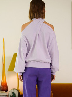 Chic Pure Color Off Shoulder Loose Sweatshirt