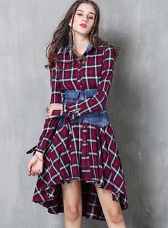 Fashion Lapel Single-breasted Plaid With Denim Waist Dress