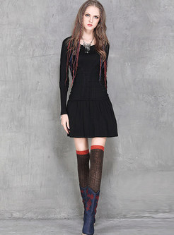 Casual Pullover Knitted Mini Skater Dress