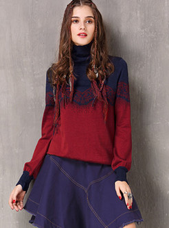 Color-blocked High Neck Lantern Sleeve Loose Sweater