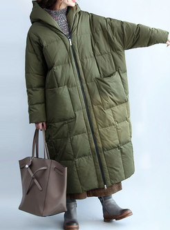 Army Green Hooded Long Sleeve Winter Puffer Coat