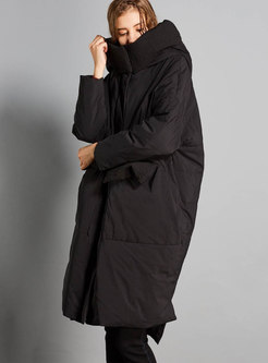 Fashion Black Hooded Asymmetric Down Coat