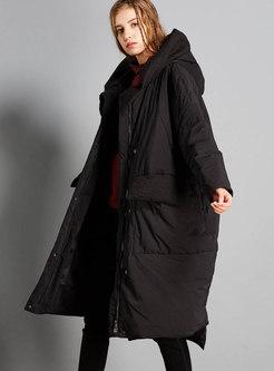 Hooded Asymmetric Long Puffer Coat