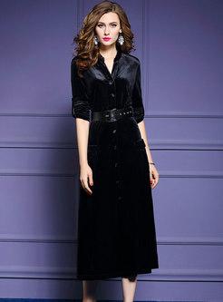 Pure Color Velvet Belted Single-breasted Skater Dress