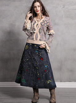 Vintage V-neck Tied Splicing Tassel Print Sweater