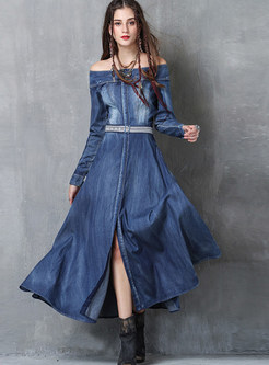 Off The Shouder Embroidered Slit Denim Maxi Dress