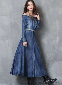 Fashion Slash Neck Embroidered Slit Denim Maxi Dress