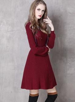 Solid Color O-neck Long Sleeve Bowknot Belt Skater Dress