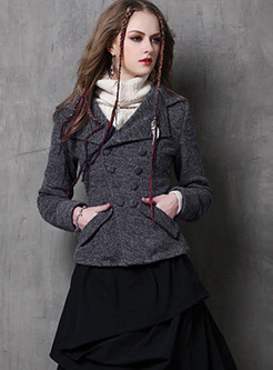 Notched Long Sleeve Double-breasted Woolen Blazer