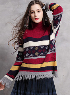 High Neck Color-blocked Striped Tassel Pullover Sweater