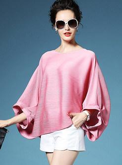 O-neck Bat Sleeve Short Pleated T-shirt