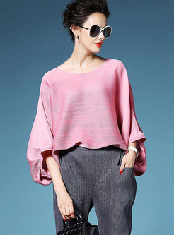 Loose O-neck Bat Sleeve Short Pleated T-shirt