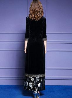 Mandarin Collar Embroidered Dress & Print Wide Leg Pants