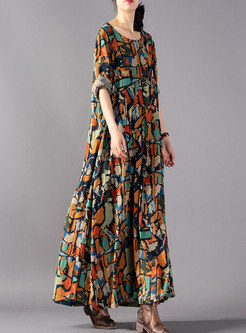Plus Size Print O-neck Loose Maxi Dress