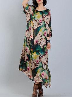 Stylish Print O-neck Bat Sleeve Slit Asymmetric Maxi Dress