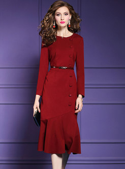 Solid Color Long Sleeve Belted Sheath Mermaid Dress