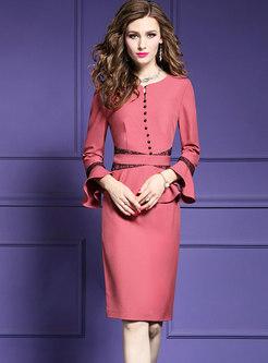 Chic Color-blocked Flare Sleeve Falbala Bodycon Dress