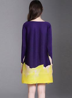 O-neck Long Sleeve Plus Size Print Pleated Dress