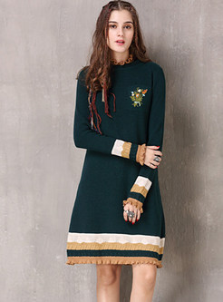 Fashion Ruffled Neck Color-blocked Knitted Dress