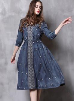 Plus Size Half Sleeve A Line Denim Dress