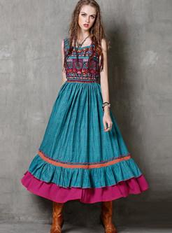 Vintage Print Waist Big Hem Splicing Falbala Maxi Dress