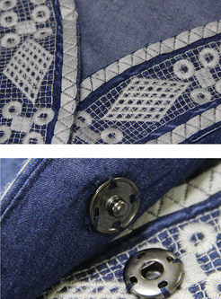 Embroidered V-neck Three Quarters Sleeve Skater Dress