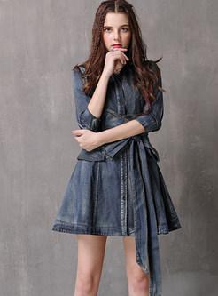 Retro Lapel Half Sleeve With Bowknot Waist Mini Dress