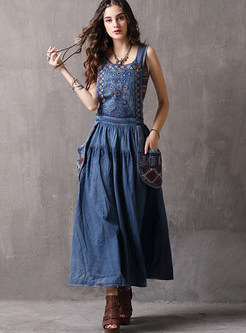 Embroidered Denim Plus Size Straped Maxi Dress