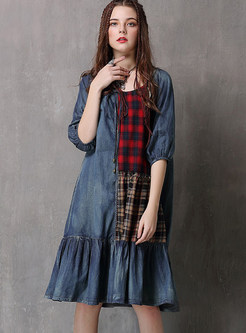 O-neck Half Sleeve Plaid Splicing Falbala Loose Dress