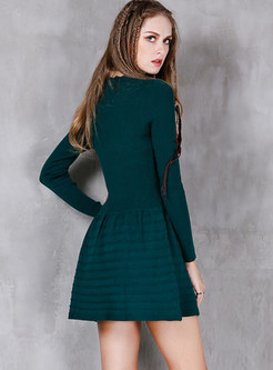 Brief Casual Slim Falbala Knitted A Line Dress
