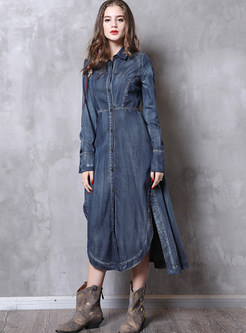 Lapel Long Sleeve Single-breasted Irregular Slit Dress