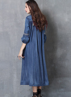 V-neck Tied Lantern Sleeve Embroidered Denim Shift Dress