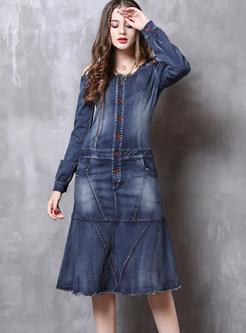 Fashion Off Shoulder Hollow Out Falbala Denim Dress