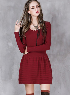 Solid Color O-neck Long Sleeve Knitted Skater Dress