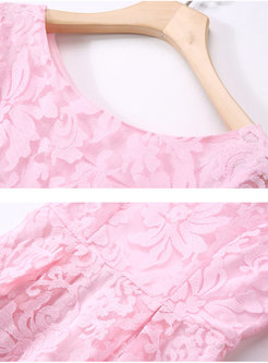 Pink O-neck Tie-waist Half Sleeve Skater Dress