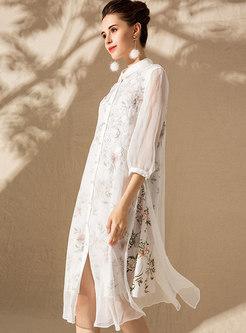 Stylish Splicing Lapel Slit Single-breasted Shift Dress