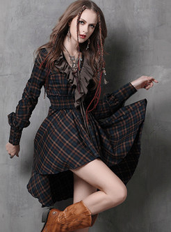 Retro Falbala V-neck Irregular Big Hem Plaid A Line Dress