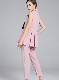 Fashion Notched Sleeveless Top & High Waist Pants