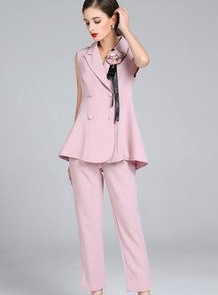Fashion Notched Sleeveless Top & High Waist Pants