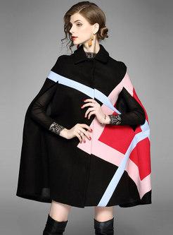 Hit Color Sleeveless Wool Blended Coat