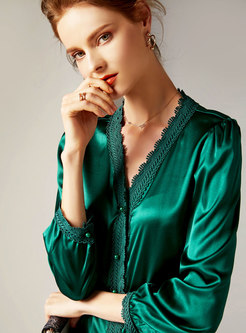 Trendy V-neck Pure Color Silk Long Sleeve Blouse