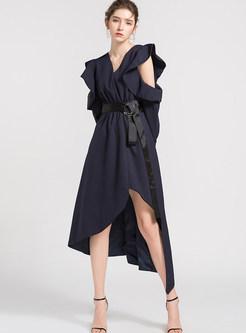 V-neck Long Sleeve Falbala Waist Irregular Dress