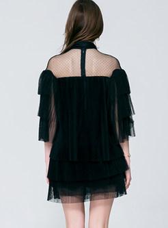 Sweet Mesh Standing Collar High Waist Lace Cake Dress