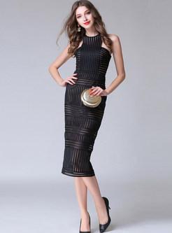 Sexy O-neck Sleeveless Slim Mid-claf Bodycon Dress
