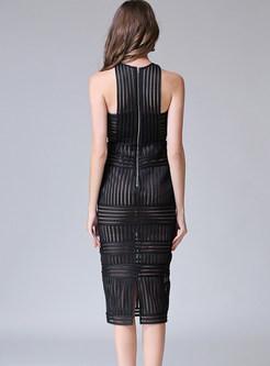 O-neck Sleeveless Slim Mid-calf Bodycon Dress